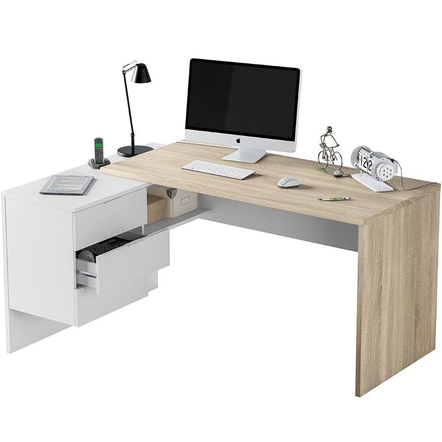 escritorio con cajones y estantes