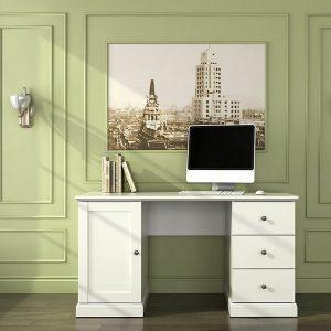 amazon mesa escritorio vintage blanca cajones