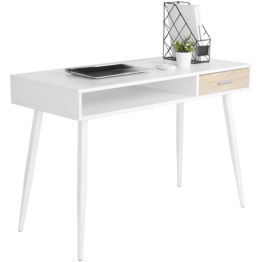 escritorio minimalista blanco nordico