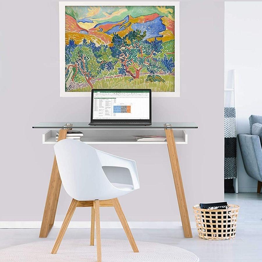 escritorio minimalista moderno cristal