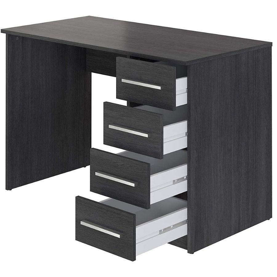 escritorio negro cajones amazon movian idro