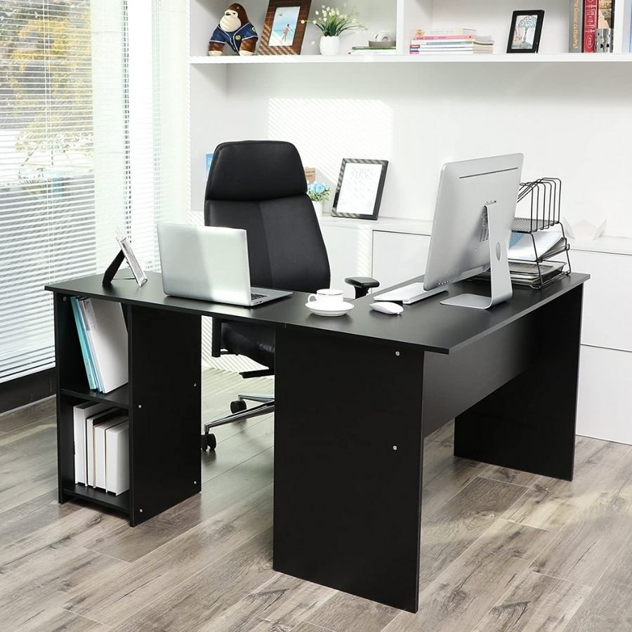 escritorio negro esquinero