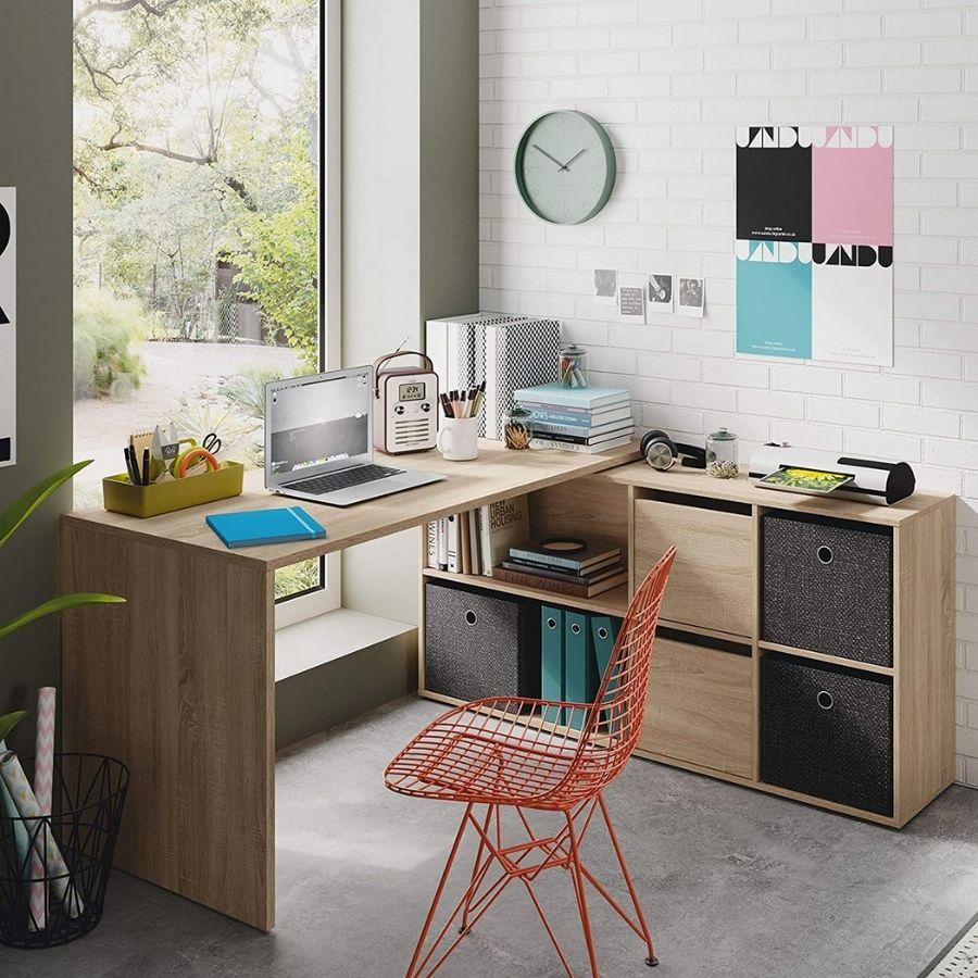 ofertas mesa escritorio color madera roble