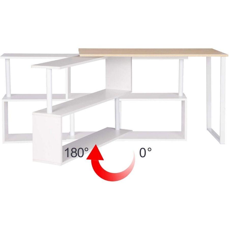comprar mesa escritorio color madera y blanco amazon
