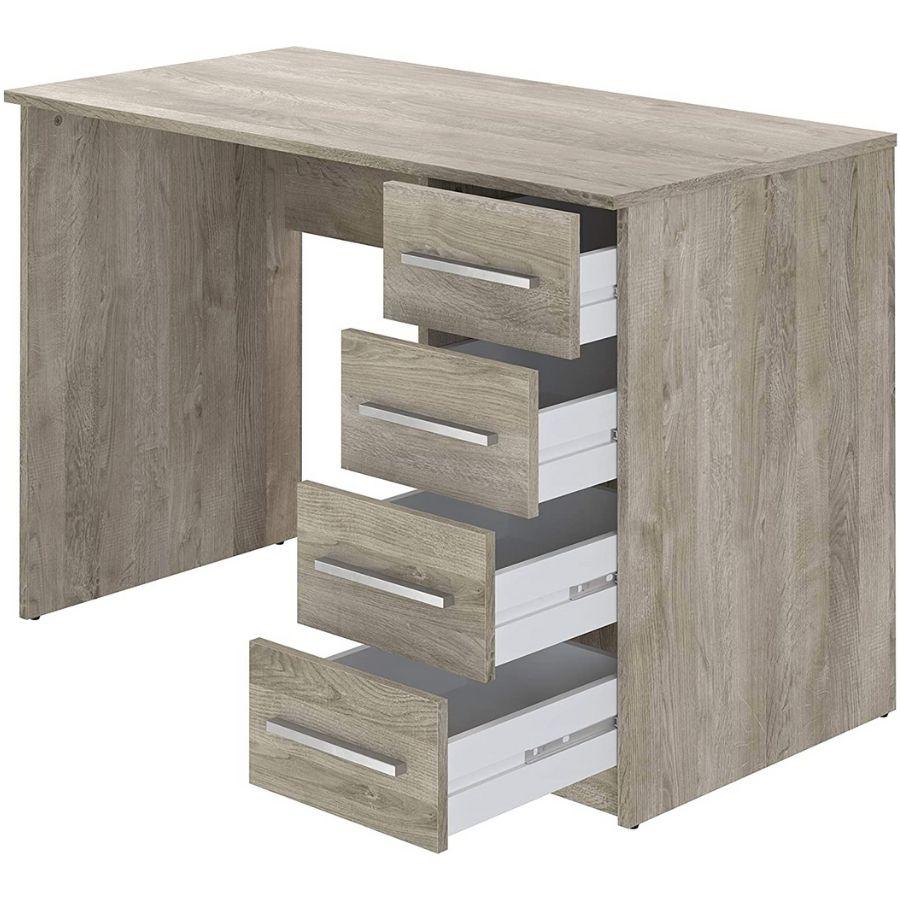 comprar mesa escritorio con cajones color madera amazon