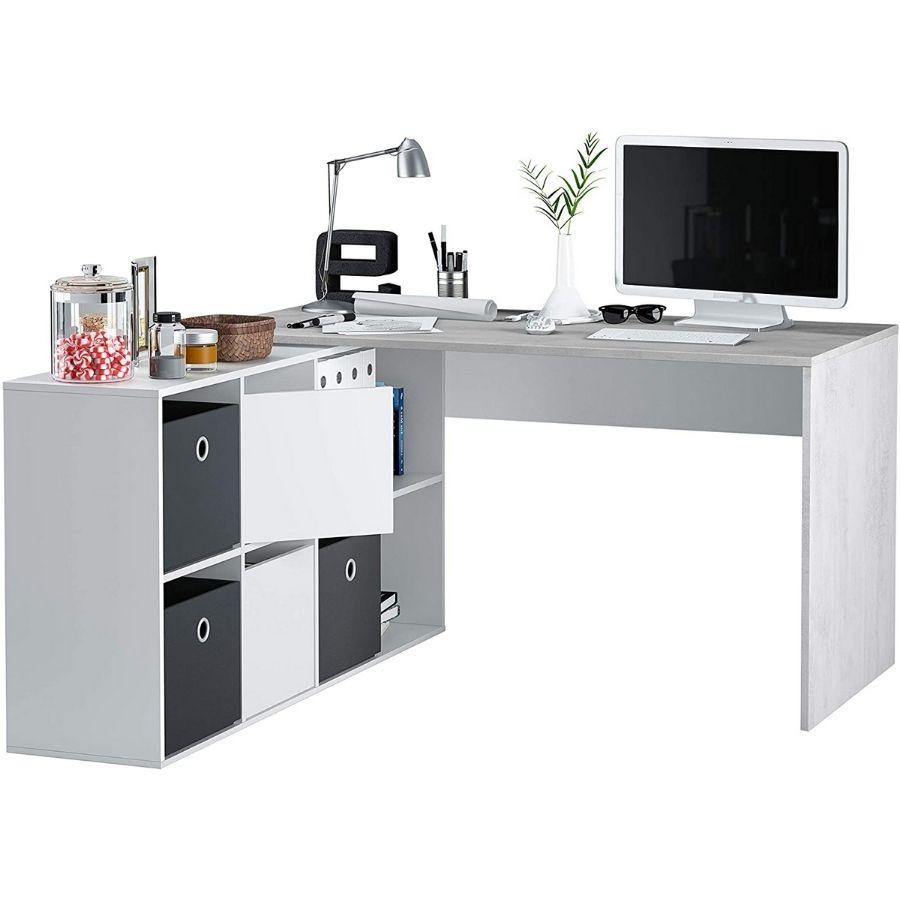 comprar mesa escritorio gris cemento estanterias