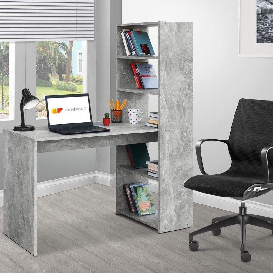 comprar mesa escritorio gris estanterias