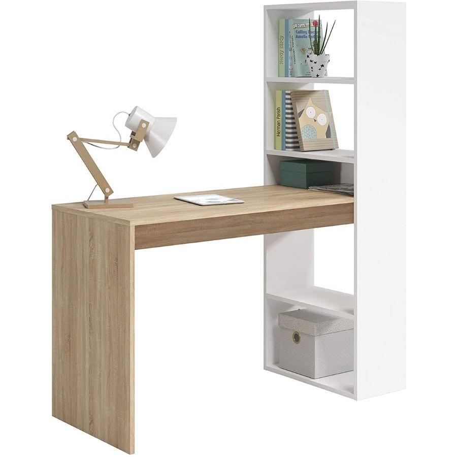 comprar mesa escritorio madera y blanco amazon
