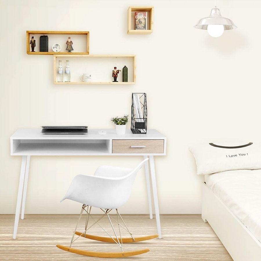 mesa escritorio minimalista blanca nordica