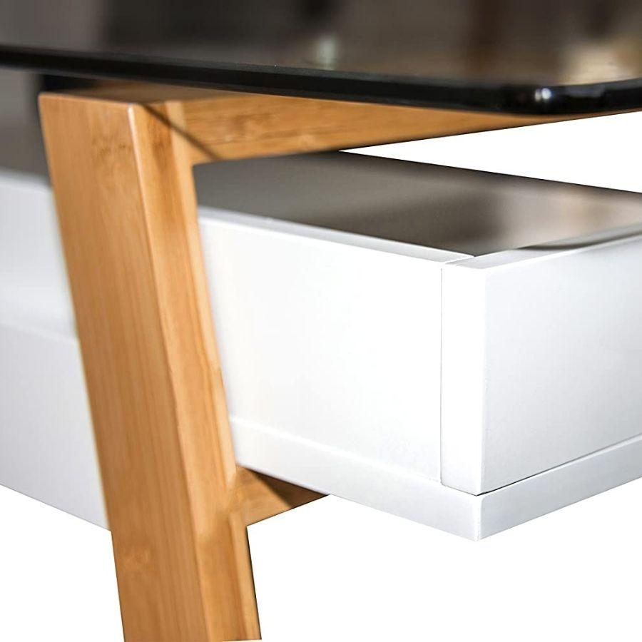 mesa escritorio minimalista moderna cristal