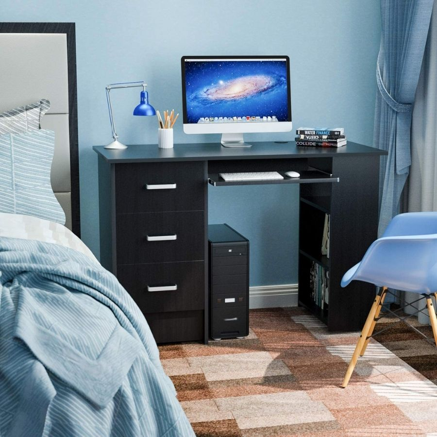 mesa escritorio negra cajones