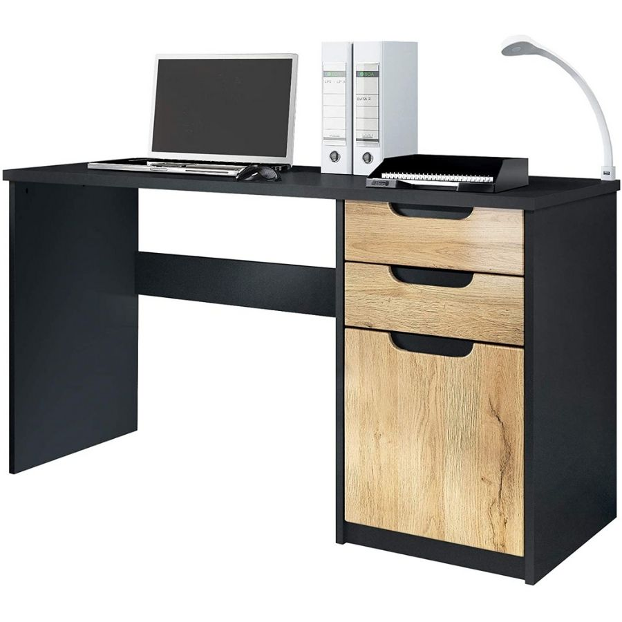 comprar mesa escritorio negra y madera amazon