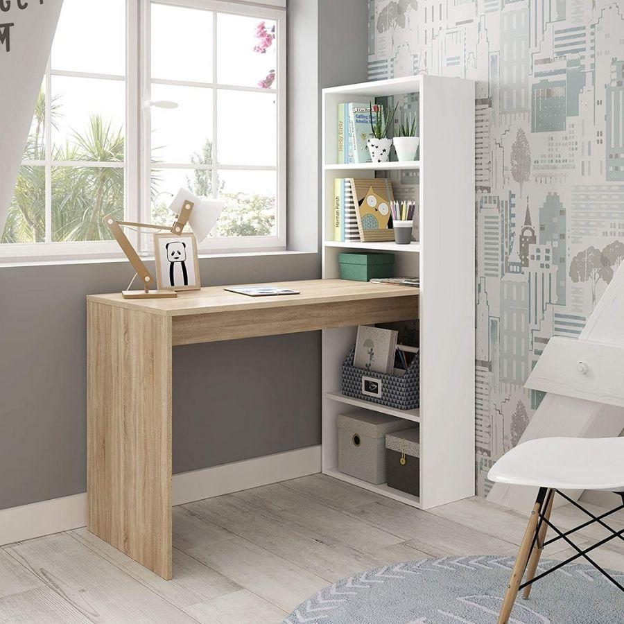 comprar mesa estudio color madera y blanco amazon