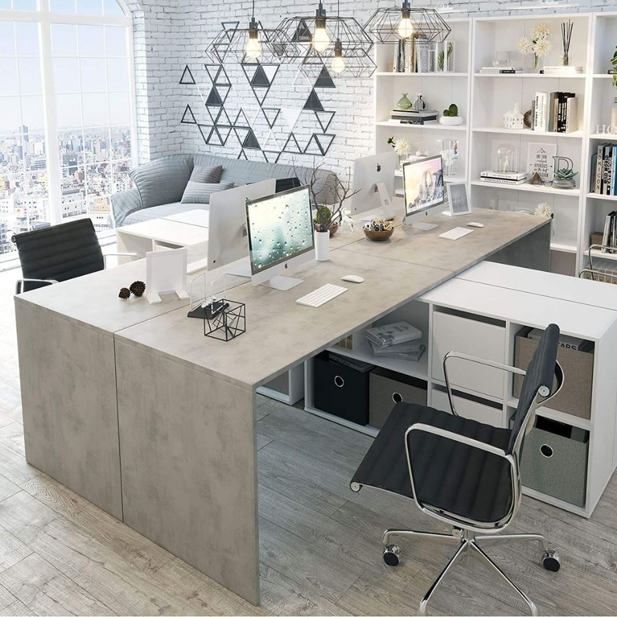 comprar mesa estudio gris cemento estantes