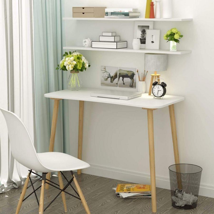 mesa estudio minimalista blanca