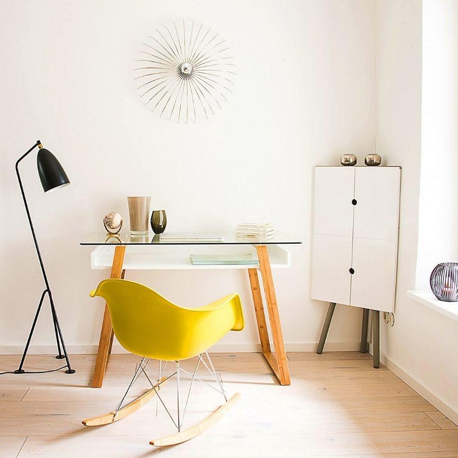 mesa estudio minimalista moderna cristal