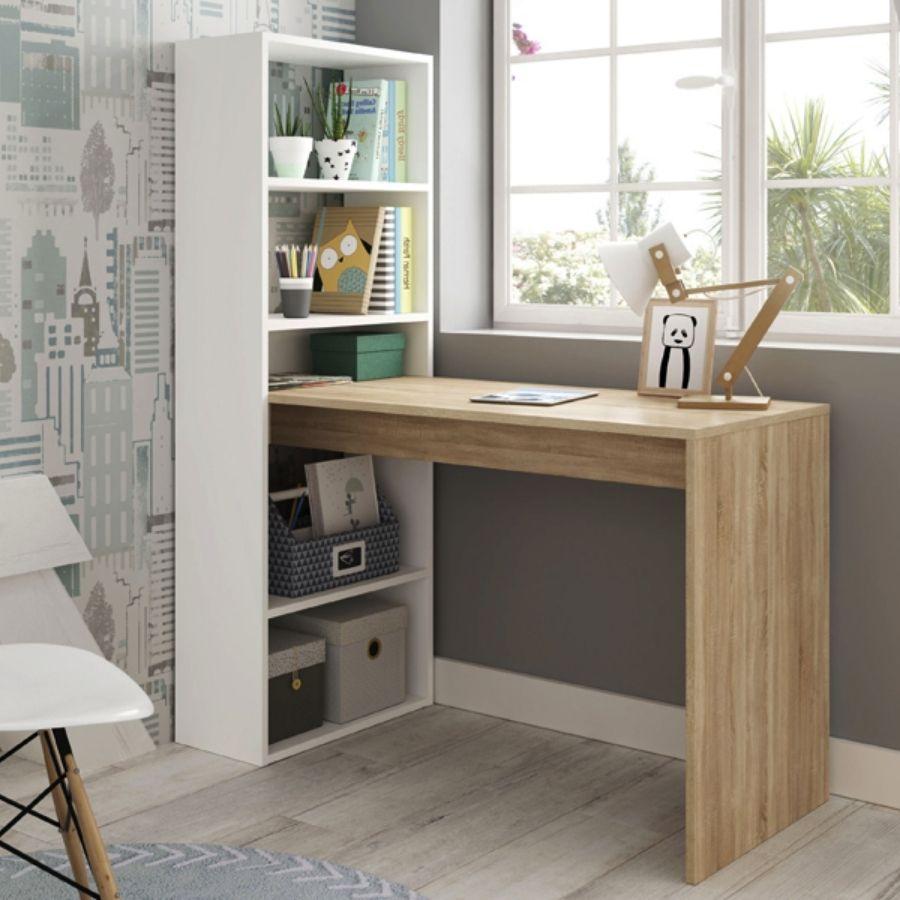 comprar mesa ordenador madera y blanco amazon
